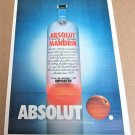 ABSOLUT MANDRIN (Canadian Version) Large-Size Newspaper Vodka Ad