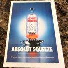 ABSOLUT SQUEEZE Large-Size Newspaper Vodka Ad w/ AbsolutDigitalArt.com Caption