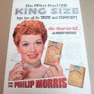 LUCILLE BALL CALL FOR PHILIP MORRIS Cigarette Magazine Ad 1953