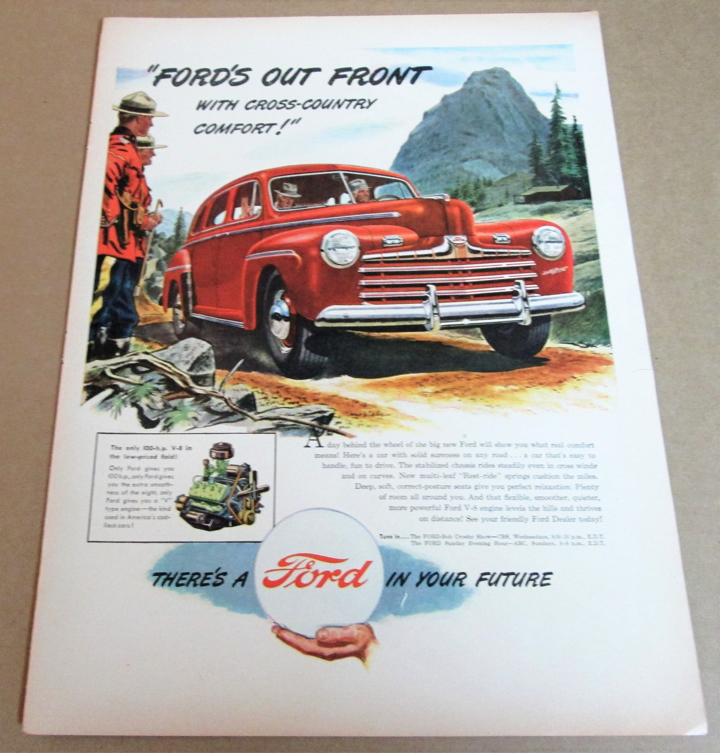 """1946 FORD 4-DR SEDAN Magazine Ad Advertisement R.C.M.P. """"Ford's Out Front"""""""