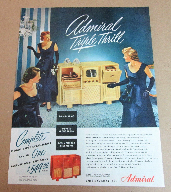 ADMIRAL TRIPLE THRILL RADIO TV PHONO Vintage Magazine Ad Advertisement 1948