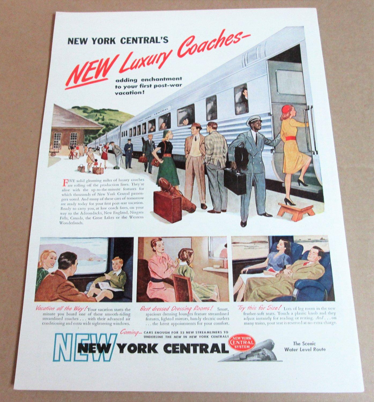 NEW YORK CENTRAL'S NEW LUXURY COACHES 1946 Magazine Ad Advertisement