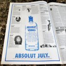 ABSOLUT JULY Vancouver Event Itinerary Vodka Ad © 1993 - RARE!