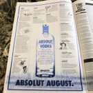 ABSOLUT AUGUST Vancouver Event Itinerary Vodka Ad © 1993 - RARE!