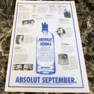 ABSOLUT SEPTEMBER Vancouver Event Itinerary Vodka Ad © 1993 - RARE!