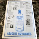 ABSOLUT NOVEMBER Vancouver Event Itinerary Vodka Ad © 1993 - RARE!