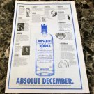 ABSOLUT DECEMBER Vancouver Event Itinerary Vodka Ad © 1993 - RARE!