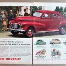 1946 CHEVROLET 4-DR SEDAN 2-Page Magazine Ad Advertisement