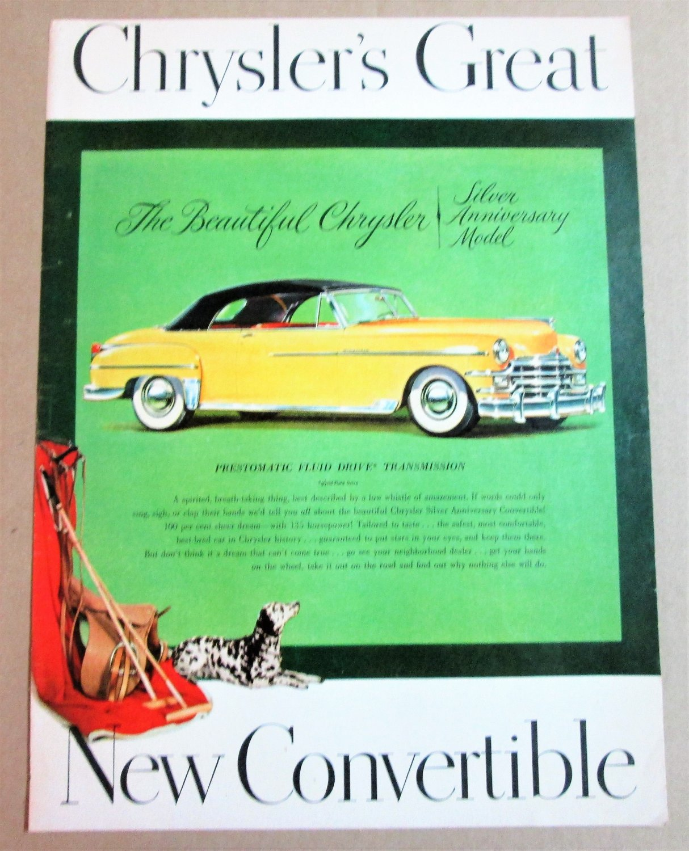 1949 CHRYSLER SILVER ANNIVERSARY CONVERTIBLE Vintage Magazine Ad Advertisement