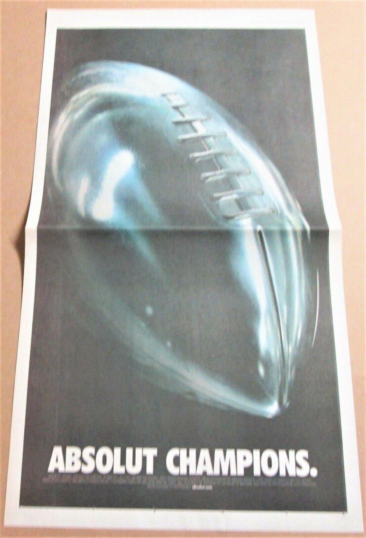 ABSOLUT CHAMPIONS Super Bowl XXXV USA Today Newspaper Ad January 29, 2001