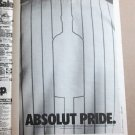 ABSOLUT PRIDE (BASEBALL JERSEY) Large Size Newspaper Vodka Ad Advertisement