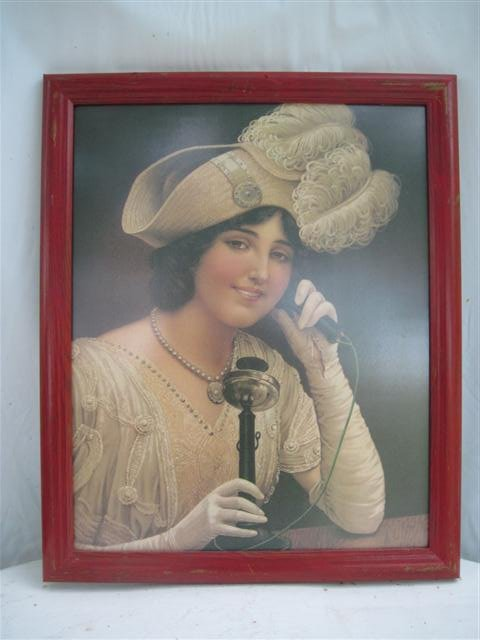 Framed Wall Picture/Print of Woman Using a Candlestick Phone