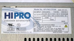 HIPRO Computer Power Supply offered for Parts or Repair.