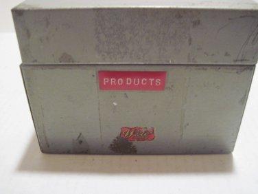 Metal Index Card Recipe File Box Vintage #122114