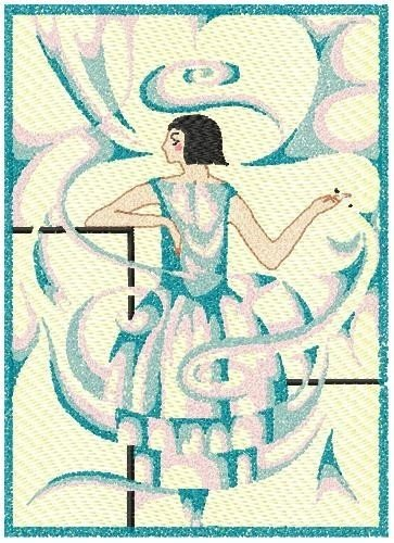 Art Deco Woman Smoke Sfumato technique Machine Embroidery