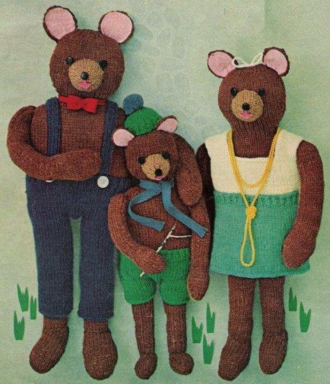 Vintage Bears Family Knit Pattern