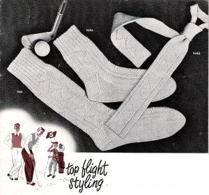 Vintage Knit Pattern 50s for Men Tie and sock on PDF