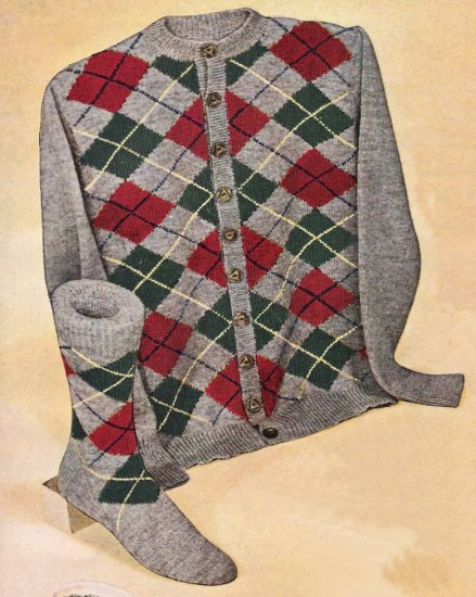 Vintage Knit Pattern 50s for Men Cardigan and Sock Diamond Plaid on PDF