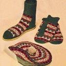 Vintage Knit Pattern 50s for Men Slipper Mitts and Hat Curling Set on PDF