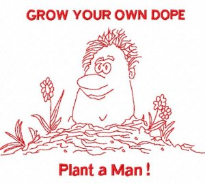 Redwork Grow your Own Dope Machine Embroidery Design