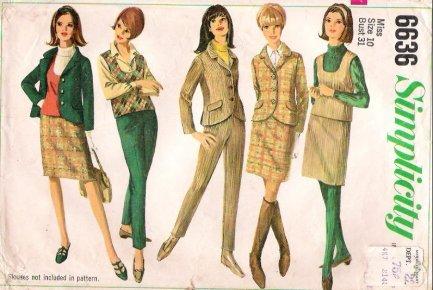 VIntage Pattern Simplicity 6636 Jacket Pant Top Skirt 60s Size 10