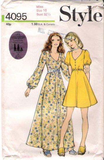 Vintage Style 4095 Pattern 70s Miss Dress Size 10