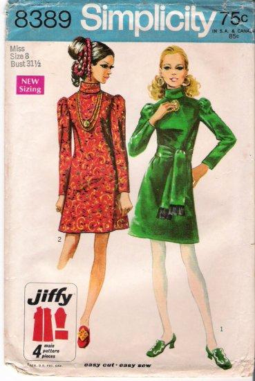Vintage Simplicity 8389 Pattern 60s Miss Dress Size 8