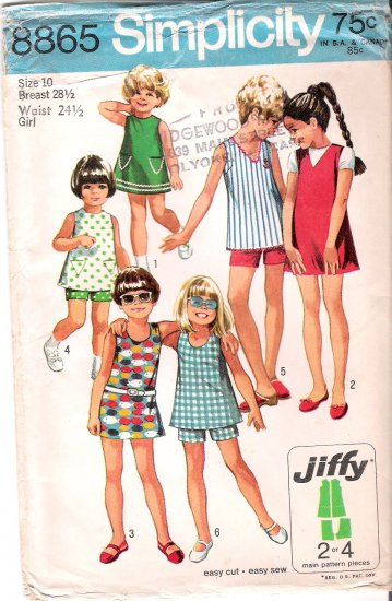 Vintage Simplicity Pattern 70s Girls Dress Top and Short Size 10