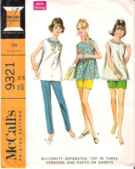Vintage McCalls Pattern 9321 Misses Maternity Top and Pants 60s Size 12 Uncut