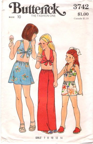 Vintage Pattern Butterick 3742 Girl Top Pants Short and Skirt 70s Size 10