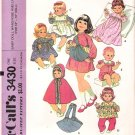 Vintage Pattern McCalls 3430 Baby Doll Wardrobe and Carrier 70s