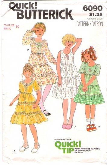 Vintage Pattern Butterick 6090 Child Girl Gipsy Dress 70s Size 10