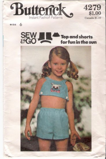 Vintage Pattern Butterick Child Top and Shorts 70s Size 6