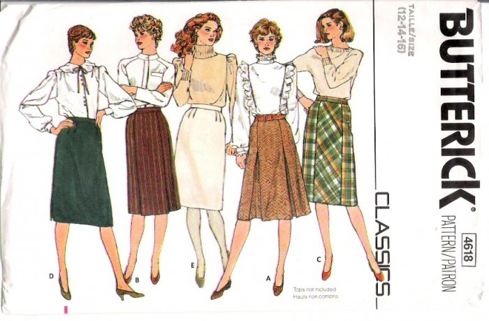 Vintage Pattern Butterick 4618 Classic Skirts 3 Models in Multi Size 12 to 16 UNCUT
