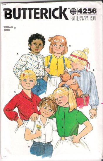 Vintage Pattern Butterick 4826 Child-Girl Blouse 80s Size 2 UNCUT