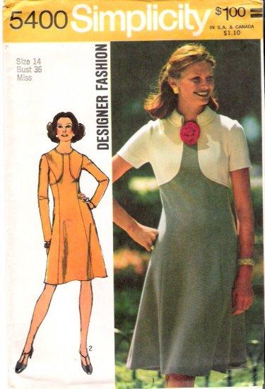 Vintage Pattern Simplicity 5400 Miss Dress 70s Size 14 UNCUT