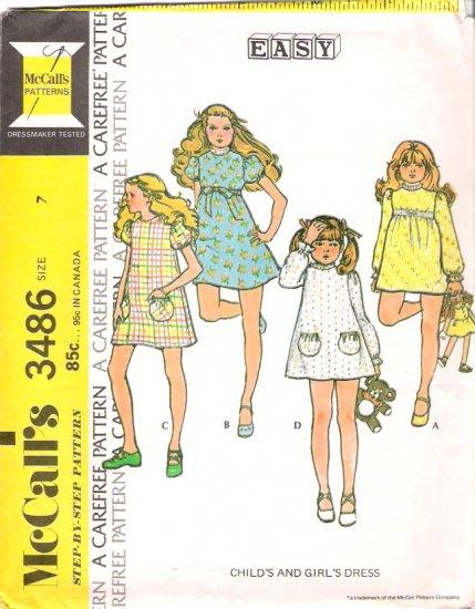 Vintage Pattern McCalls 3486 Girl Dress 70s Size 7 UNCUT