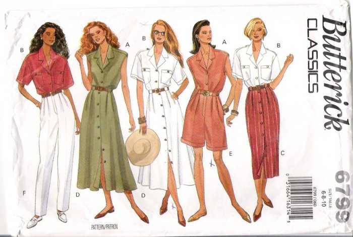 Vintage Pattern Butterick 6799 Miss Top-Skirt-Shorts and Pant 90s Size 8