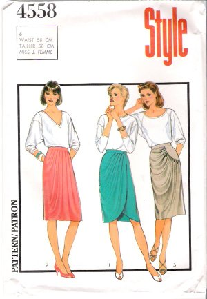 Vintage Pattern Style 4558 Miss Skirt 80s Size 6