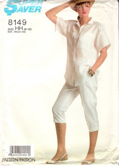 Vintage Pattern Simplicity 8149 Miss Pants and Loose-Fitting Shirt 80s Size 12 B34