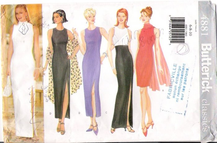 Vintage Pattern Butterick 4881 Miss Close-Fitting Dress 90s Size 10