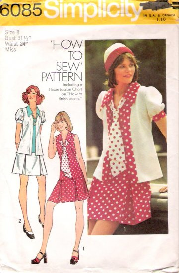 Vintage Pattern Simplicity 6085 Miss Unlined Jacket, Dress and Tie 70s Size 8