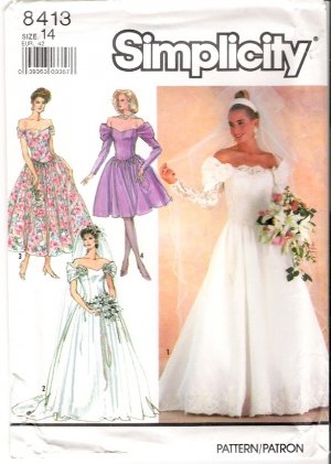 Pattern Simplicity 8413 Misses's Brides' and Bridesmaids' Dresses 90s Size 10 UNCUT