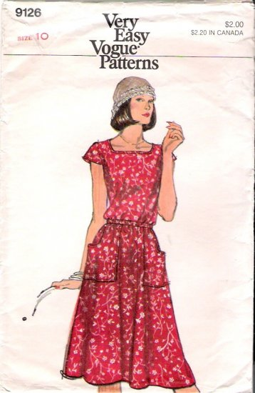 Vintage Pattern Vogue 9126 Misses Dress 70s Size 10