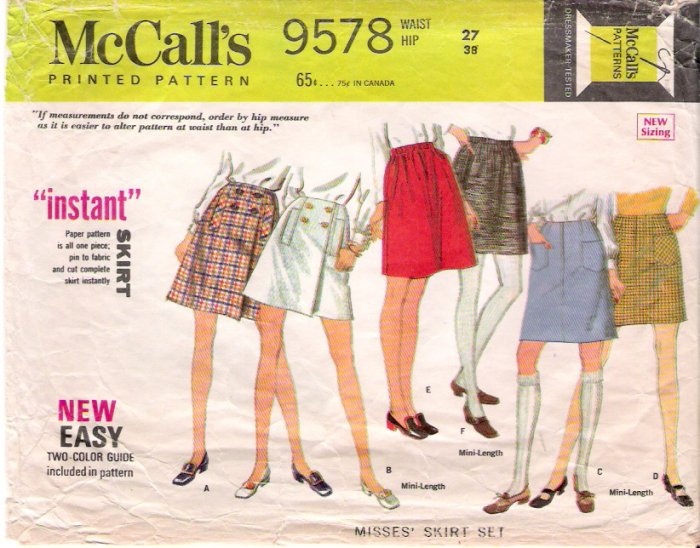 Vintage Pattern McCall's 9578 Misses Skirt in three Versions 60s Waist 27