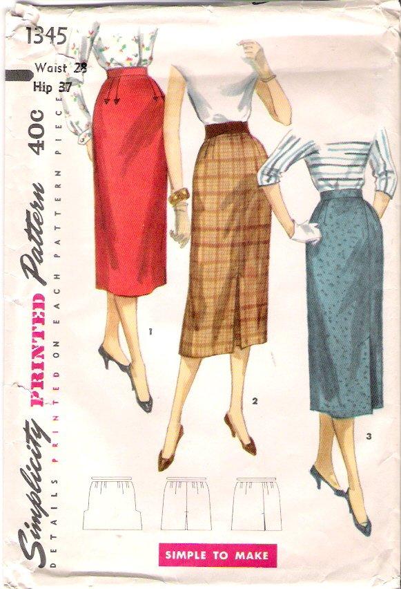 Vintage Pattern Simplicity 1345 Misses One Yard Skirts 50s Waist 28