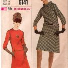 Vintage Pattern Simplicity 6141 Misses Two-Piece Dress Designer Fashion 60s Size 14 B34