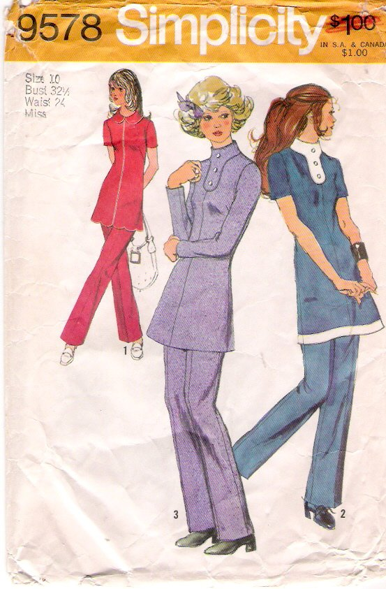 Vintage Pattern Simplicity 9578 Misses Tunic and Pants 70s Size 10 B32.5