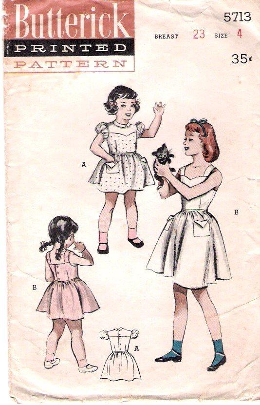 Vintage Butterick 5713 Girls' Dress 50's Size 4