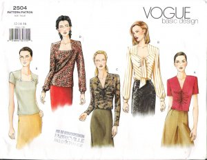 Pattern Vogue 2504 Basic Design Misses Retro Style 40s Blouse Variations Size 12